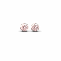8mm Pink Studs Earrings Silver