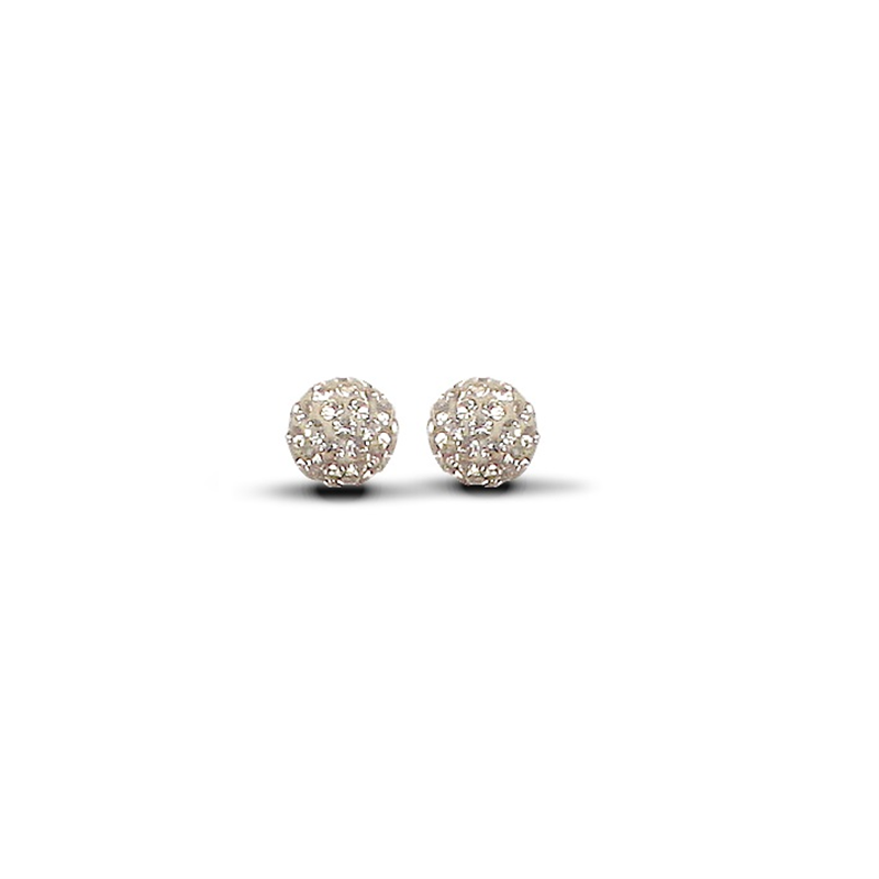 9ct Yellow Gold 8mm Champagne Crystal Stud Earrings