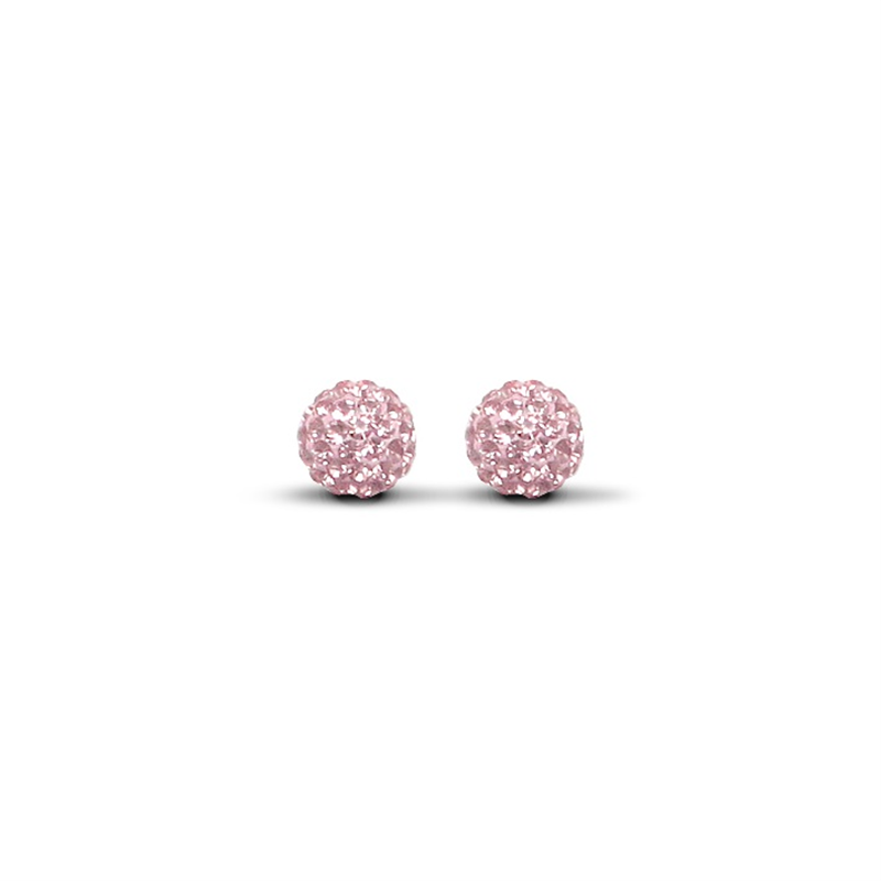 9ct Yellow Gold 8mm Pink Crystal Stud Earrings