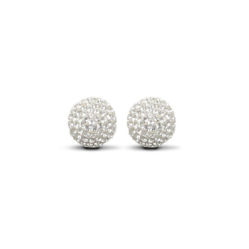 9ct Yellow Gold 12mm White Crystal Stud Earrings