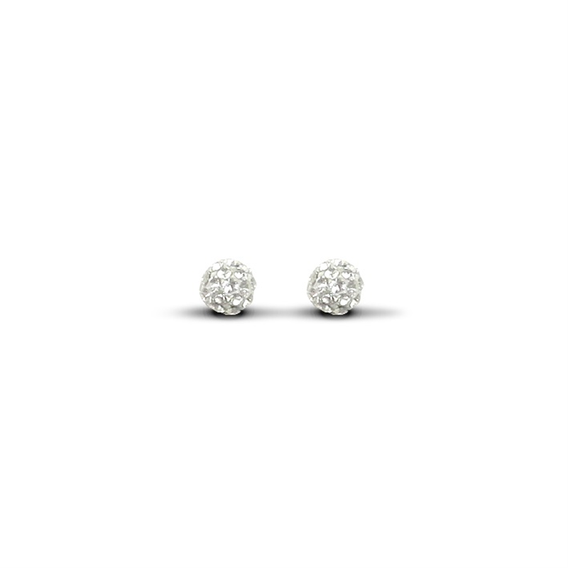 9ct Yellow Gold 6mm White Crystal Stud Earrings