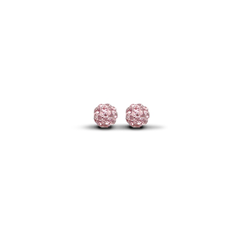 9ct Yellow Gold 6mm Pink Crystal Stud Earrings