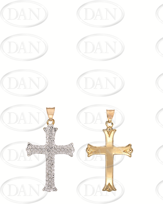 9ct Gold Crystal Cross Pendant