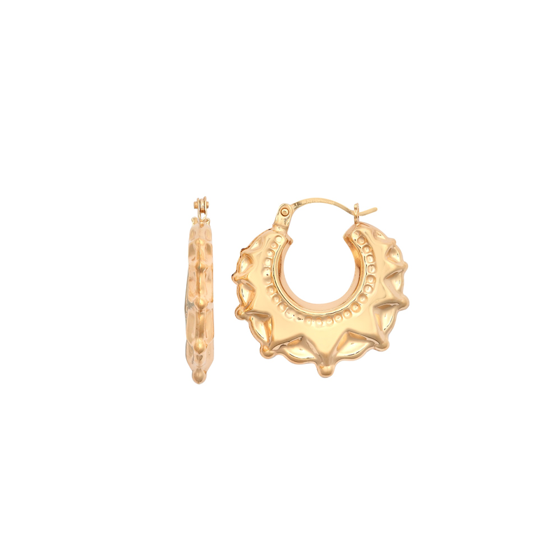 9ct Yellow Gold Round Creole Spike Earrings