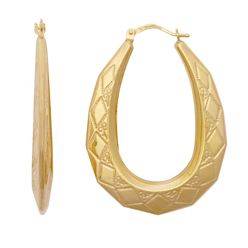 9ct Yellow Gold Oval Creole Earrings