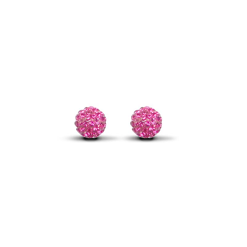 9ct Yellow Gold 7.5mm Fuchsia Pink Crystal Stud Earrings
