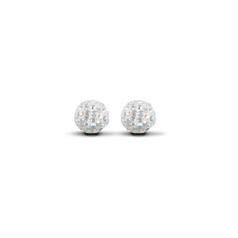 9ct Yellow Gold 7.5mm Aurora Borealis Crystal Stud Earrings