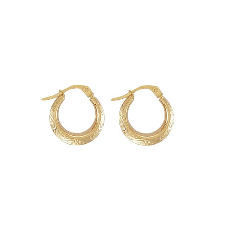 9ct Yellow Gold Fancy Creole Earrings