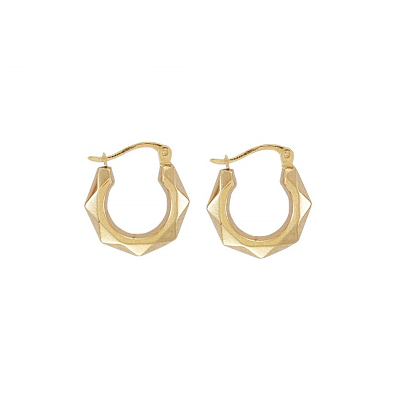 9ct Yellow Gold Faceted Creole Earrings