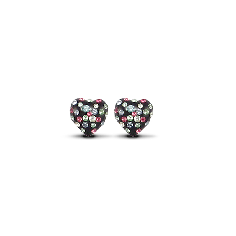 9ct Yellow Gold Multicolour Crystal & Black Heart Stud Earrings