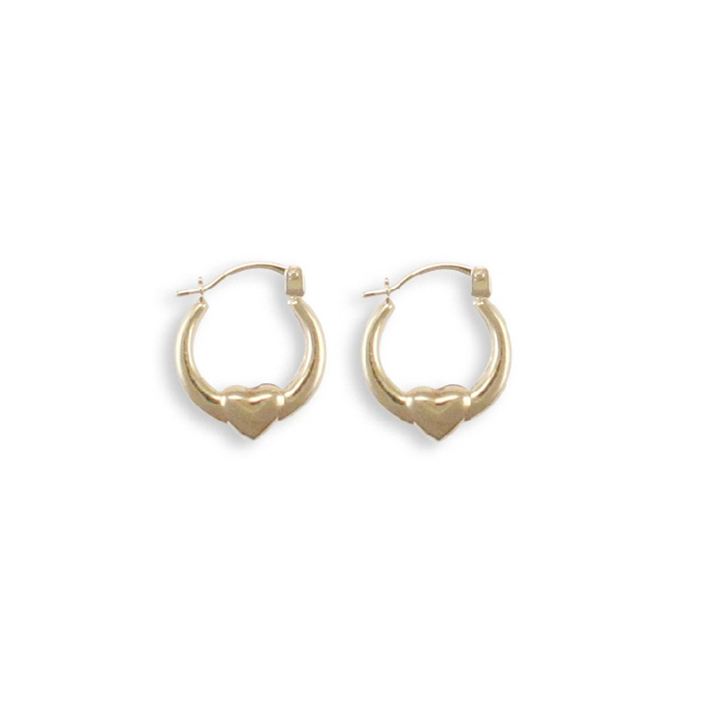 9ct Yellow Gold Round Creole with Heart Earrings