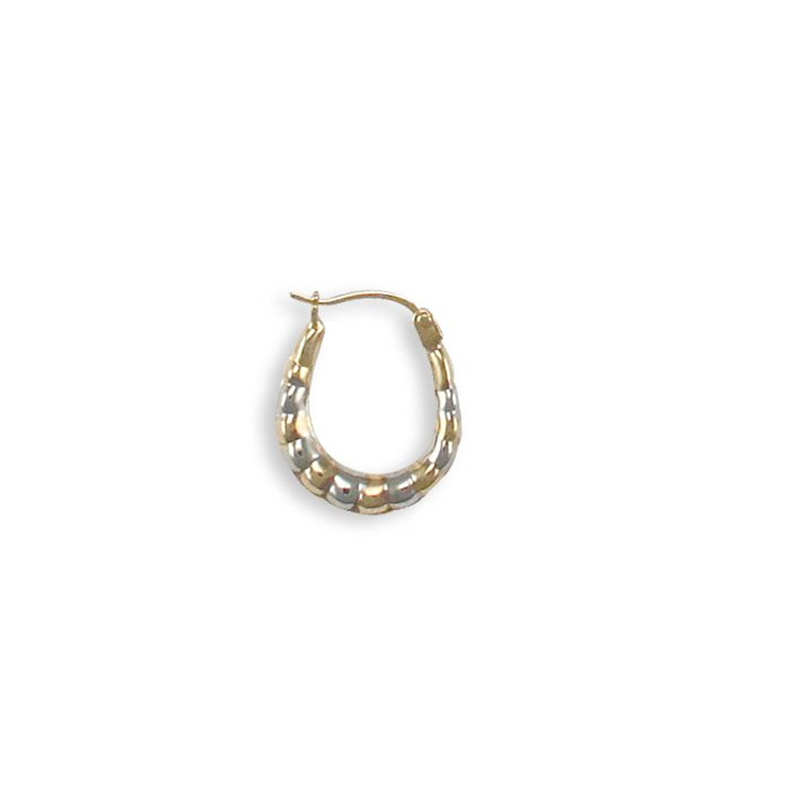 9ct Yellow Gold Rhodium Oval Creole Earrings