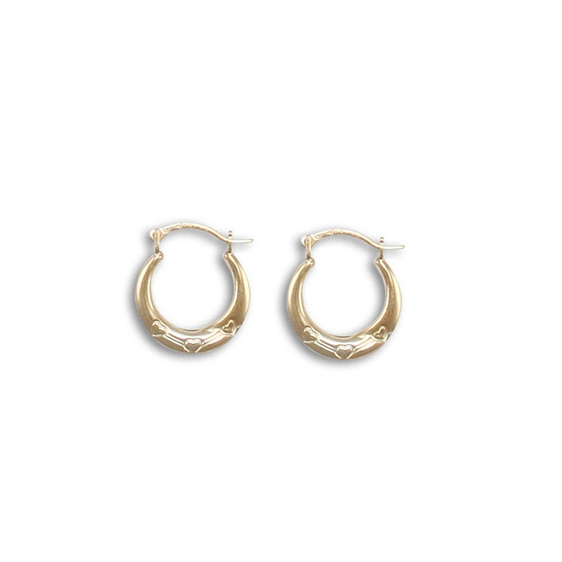 9ct Yellow Gold Round Triple Heart Creole Earrings