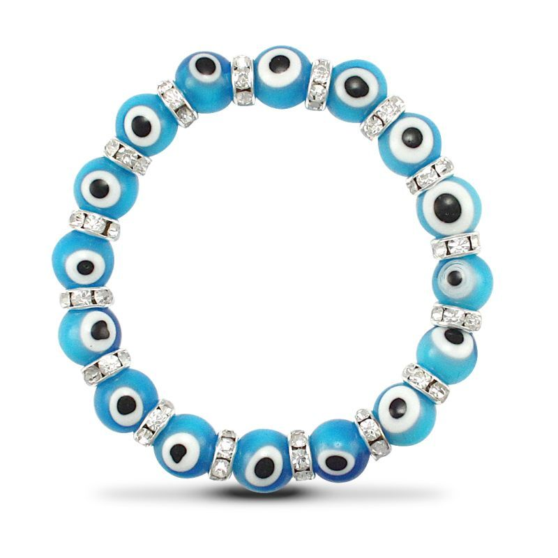 10mm Light Blue Evil Eye CZ Bracelet