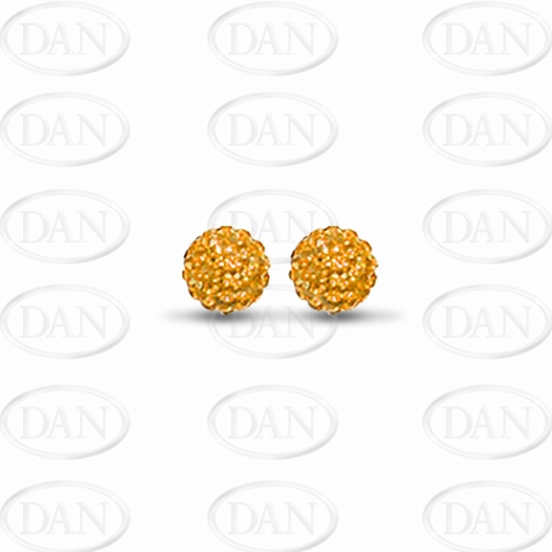 8mm Orange Crystal Ball Studs