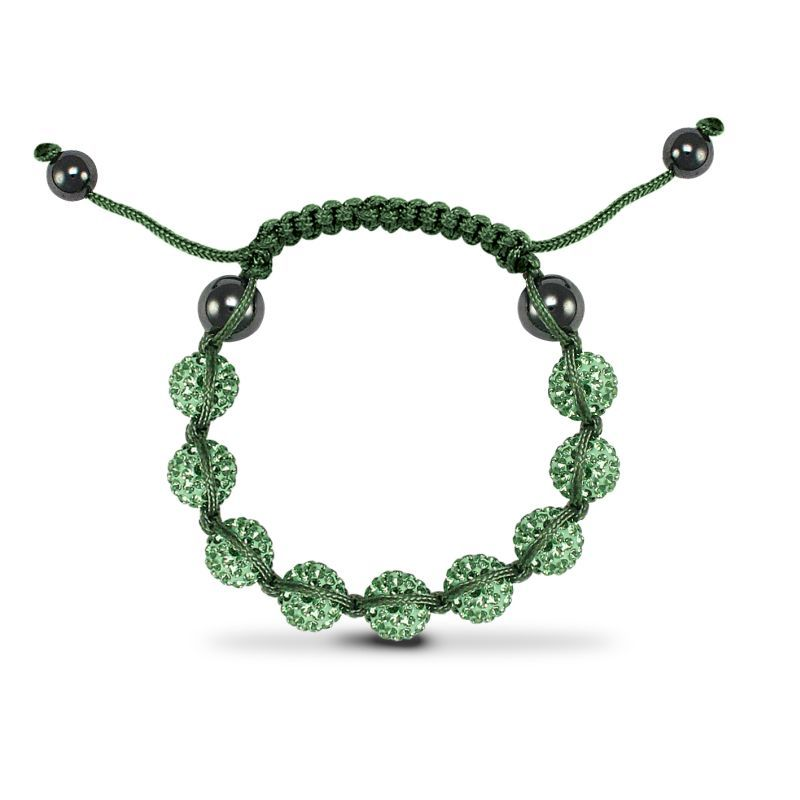 10mm Unisex Green Crystal Ball & Green String Bracelet