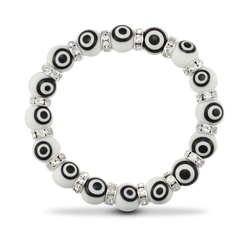 10mm White Evil Eye Brac