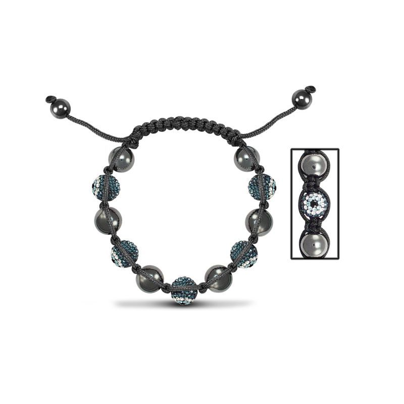 10mm Unisex Evil Eye Crystal & Hematite Ball Bracelet