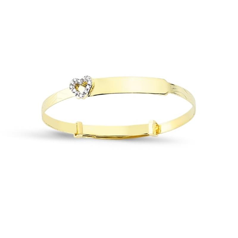 9ct Yellow Gold Kids CZ Heart Diamond Cut Expandable ID Bangle