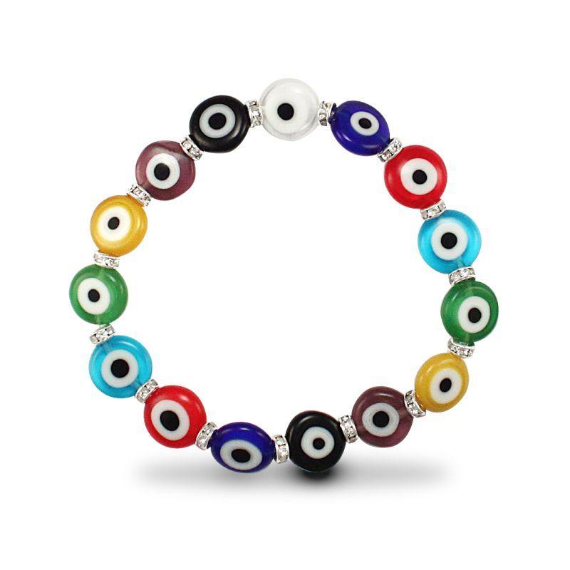 Multicolour Evil Eye Discs and CZ Bracelet