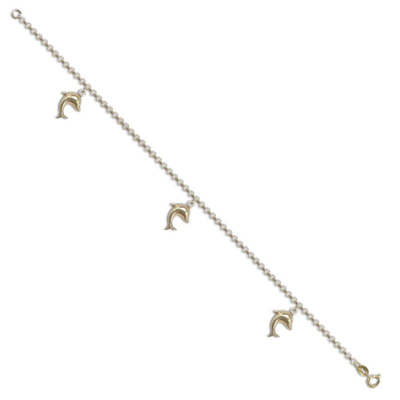 9ct Yellow Gold Ladies Dolphin Charm Bracelet