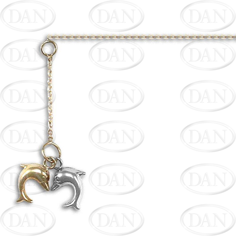 9ct Yellow Gold & Rhodium Double Dolphin Drop Anklet