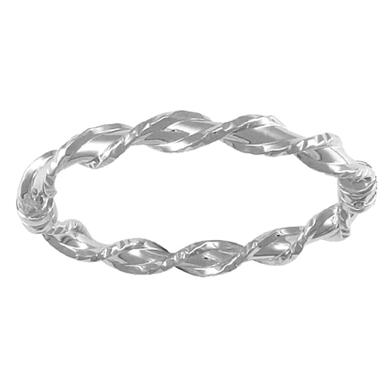 Sterling Silver Kids Twist Hinged Bangle