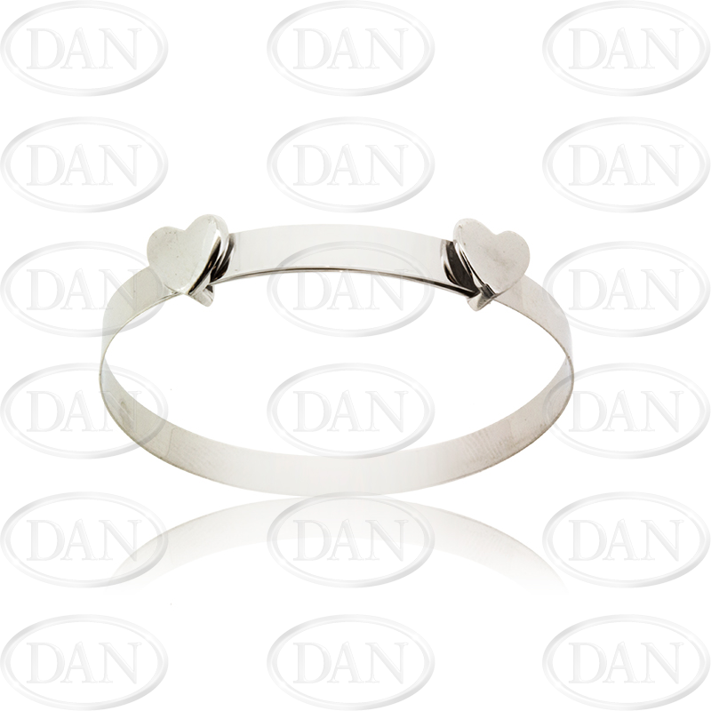 9ct White Gold Double Heart Baby Expandable Bangle