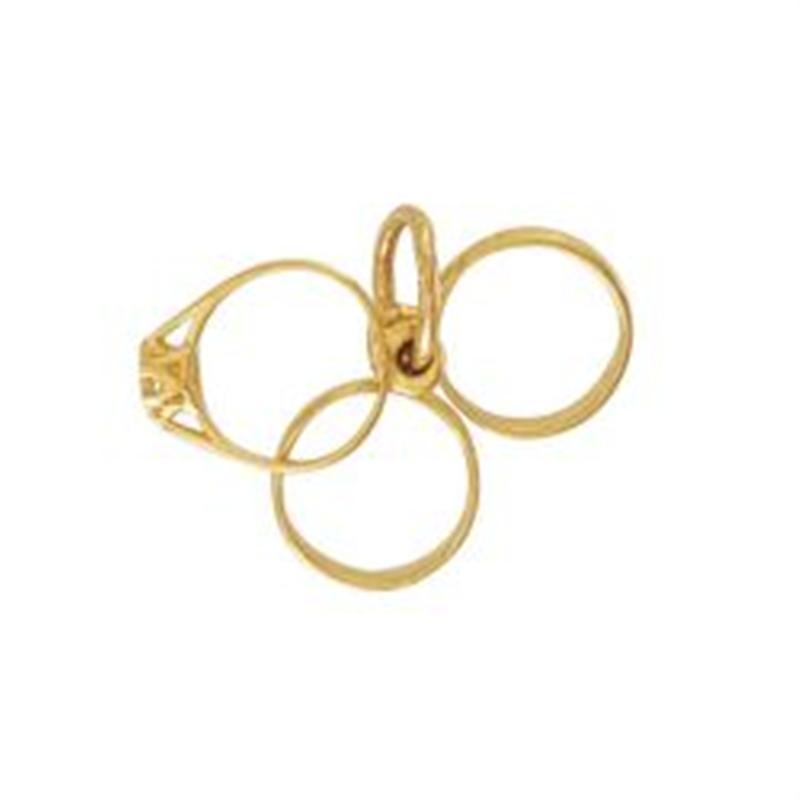 9ct Yellow Gold CZ Triple Ring Charm Pendant