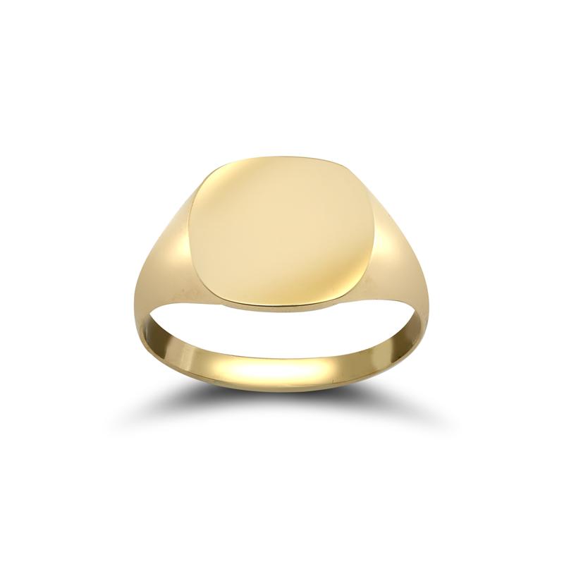 9ct YG Plain Square Signet Ring