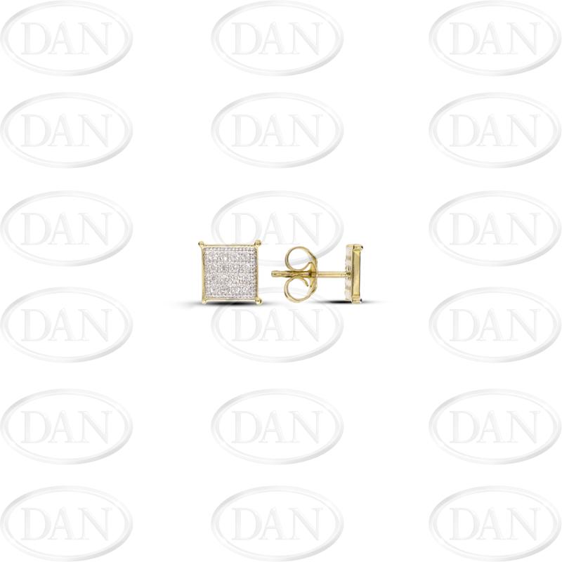 Checked Square Diamond Earrings