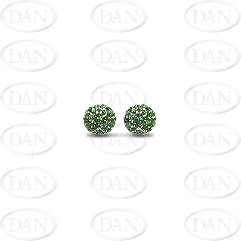 Sterling Silver 8mm Dark Green Crystal Stud Earrings