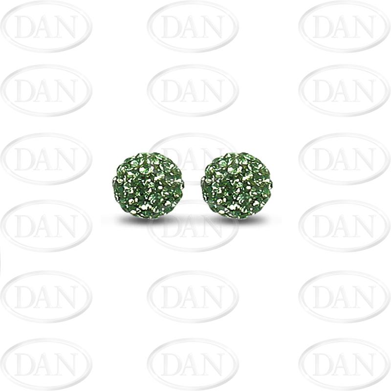 Sterling Silver 10mm Dark Green Crystal Stud Earrings