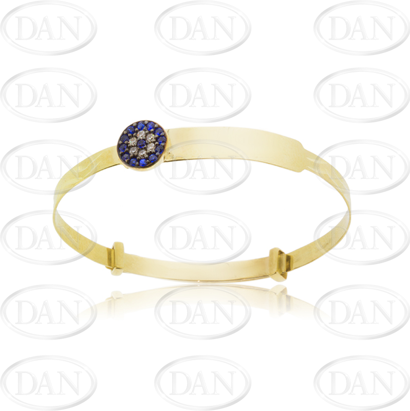 Kids 9ct Yellow Gold Cz & Blue Evil Eye Expandable Baby Bangle