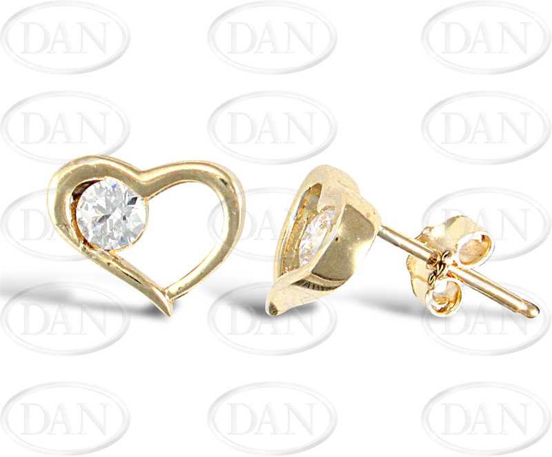 9ct Yellow Gold Single Cz in Heart Earrings