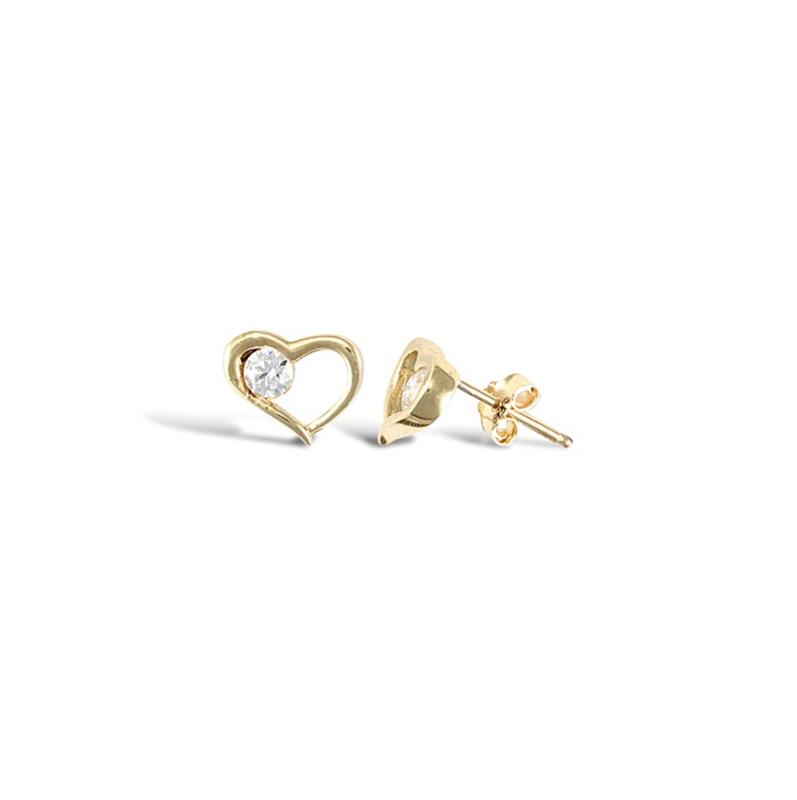 9ct Yellow Gold Single Cz in Heart Earrings