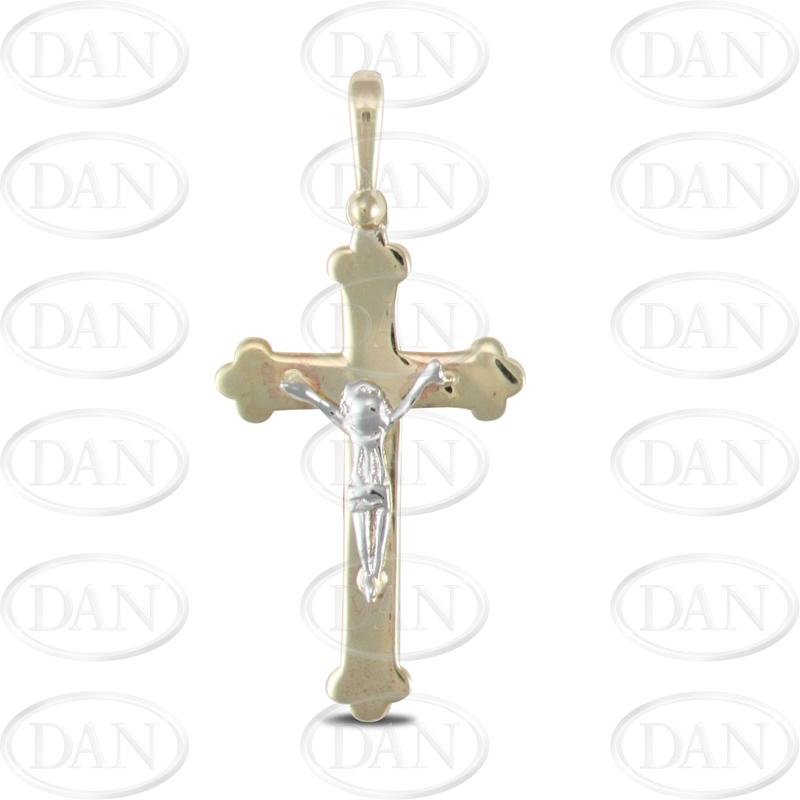 9ct Yellow and White Gold Crucifix