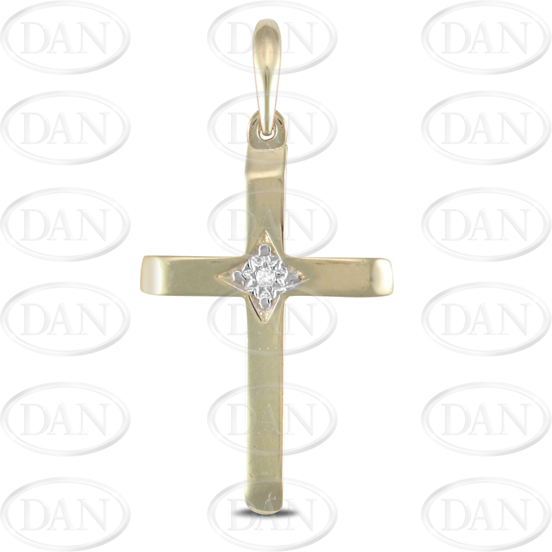 9ct Yellow Gold Cross With CZ In Center