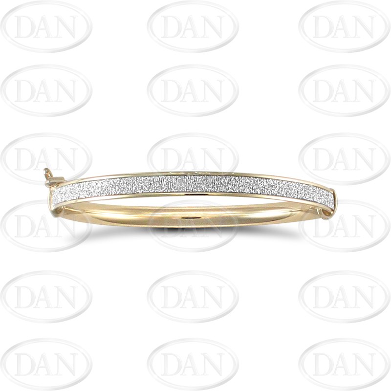 9ct Yellow Gold Glitter Baby Bangle