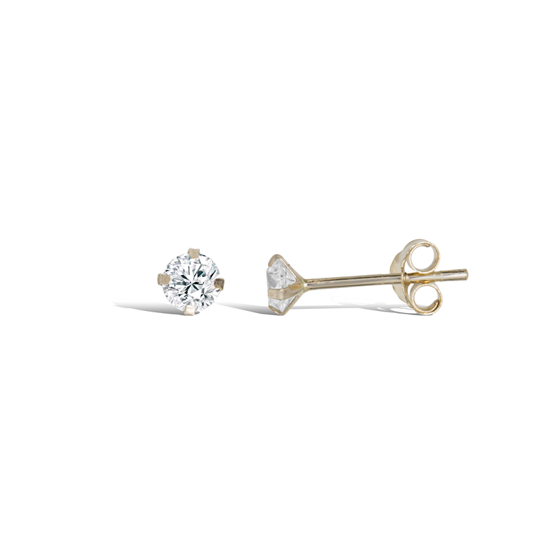 9ct Gold 3mm CZ Stud Earrings