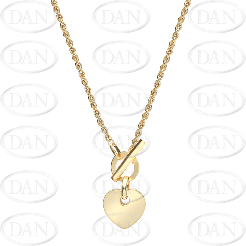 9ct Yellow Gold Heart T Bar Ladies Necklace Chain