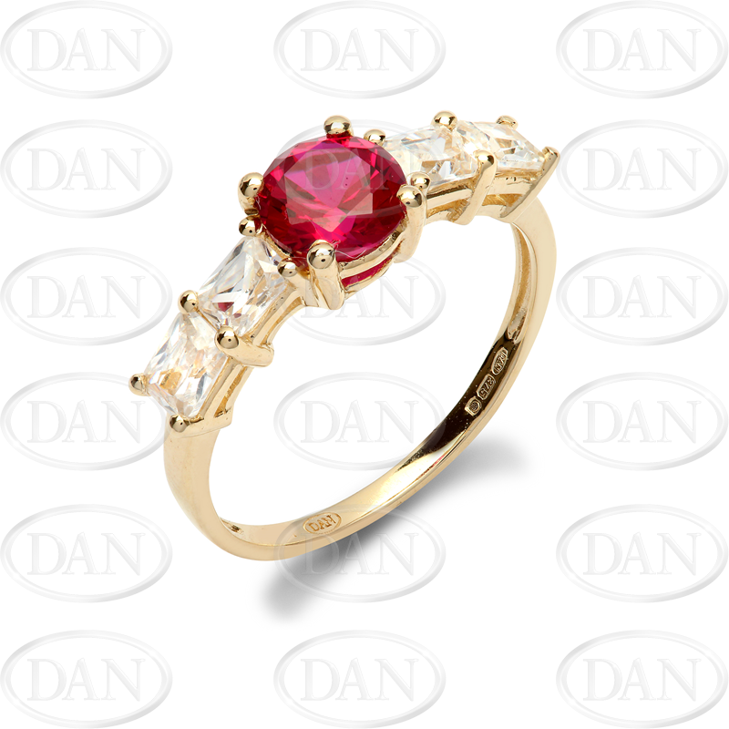 9ct Yellow Gold CZ & Red Ladies Ring
