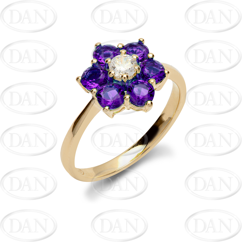 9ct Yellow Gold CZ & Purple Cluster Flower Ladies Ring