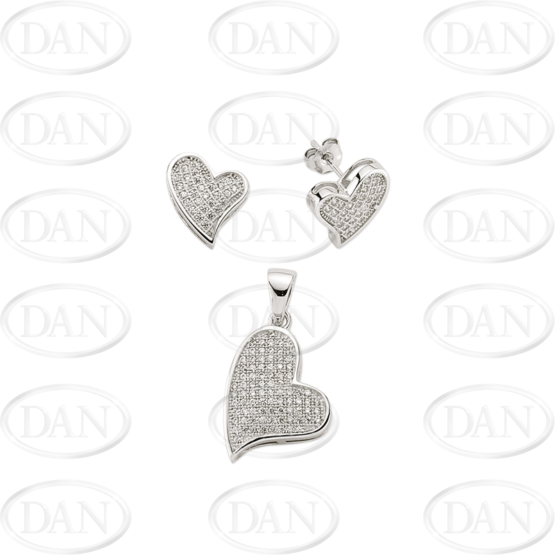 Sterling Silver Micropave CZ Heart Pendant
