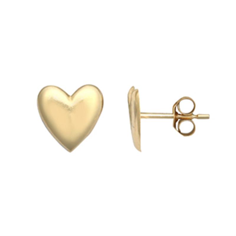 9ct YG Plain Heart Studs Earrings