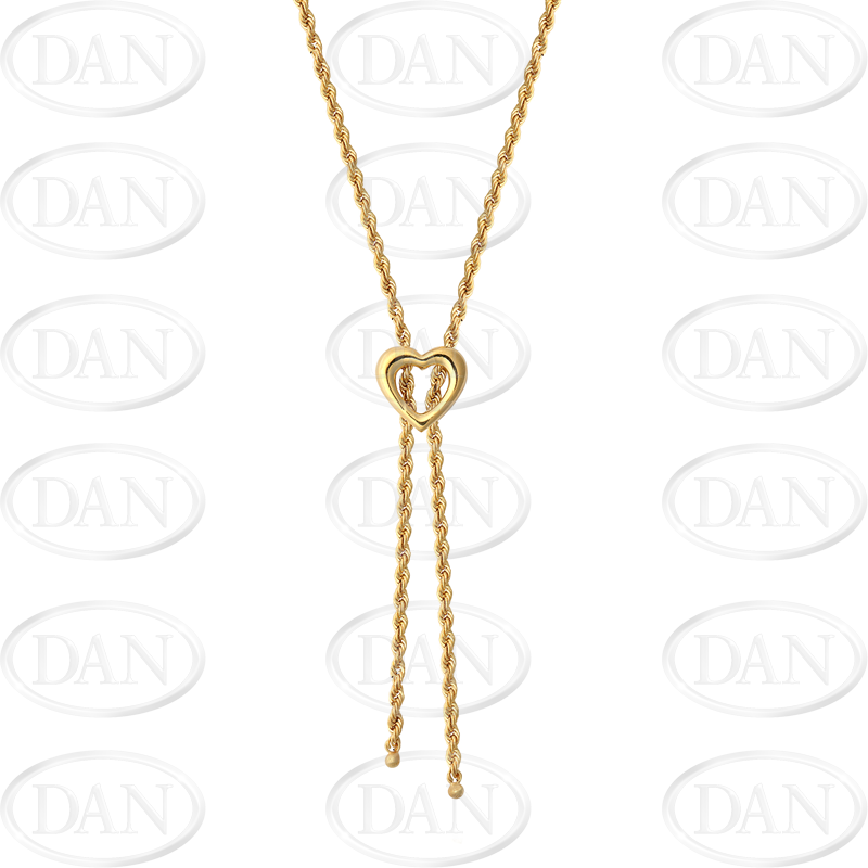 9ct YG Heart Rope Necklace