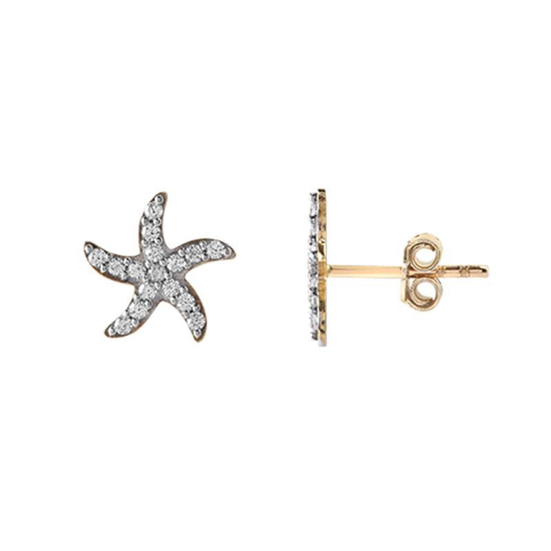 9ct Yellow Gold Kids Starfish Stud Earrings