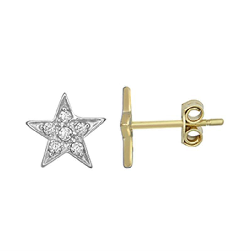 9ct YG CZ Kids Star Stud Earrings (Small)