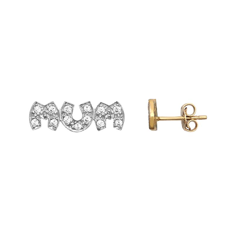 9ct Yellow Gold CZ Mum Stud Earrings