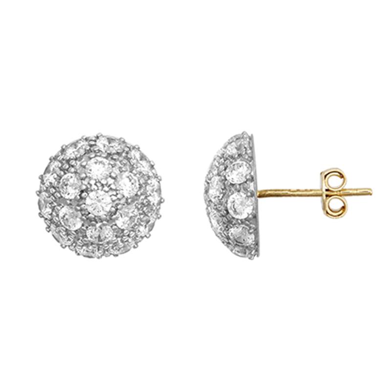 9ct Yellow Gold CZ Dome Stud Earrings (Medium)